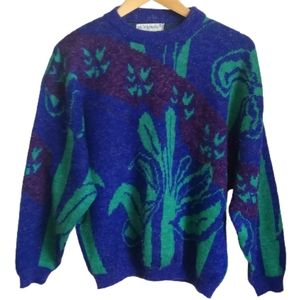 VINTAGE 80s Blue & Green Knitted Crewneck Sweater